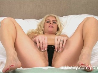 Sexy Ashleigh McKenzie from UK gets off her hairy pussy
