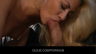Young blonde tastes the Old french penis