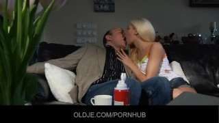 Young blonde tastes the Old french penis Shaved smoking
