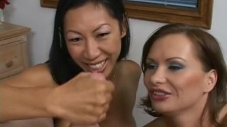 Two perfect chicks share a small penis porno