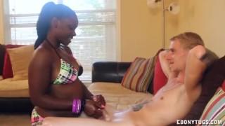 Ebony Cutie Is Milking The White Guy