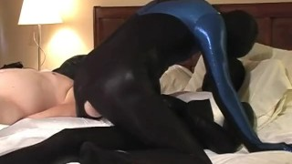 Spanking and  sucking scene spandex group threesome