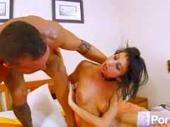 Skinny and small-tit tattooed latina fucks her man hard