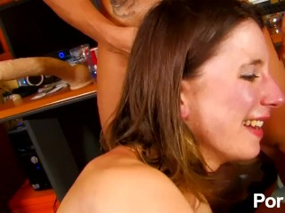 Amelie Jolie gets DP'ed and facialized by 2 shy Spanish dicks
