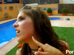 Jordanne kali and Max Cortes fuck with another french babe by the pool