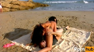 Julia De Lucia And Yesenia Rock Share A French Cock By The Beach
