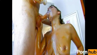 All herself soups girl over pours wam dick