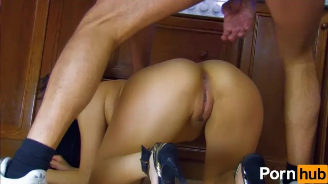 French Asian babe gets anal'd in the kitchen