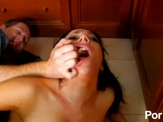 Babe fucks everything but the kitchen sink