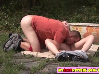 Small teenage pussy fucked outdoors