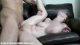 Beauty with huge natural tits gets fingered & fucked to orgasm