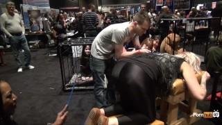 PornhubTV Intern Amber Gets Flogged at eXXXotica 2013