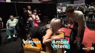 PornhubTV Intern Amber Gets Flogged at eXXXotica 2013 Transsexual trans