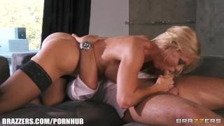 Busty blonde MILF Amber Lynn seduces Keiran Lee for a rough fuck