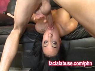 Two Big DIcks Fuck Her Sexy Asian Throat