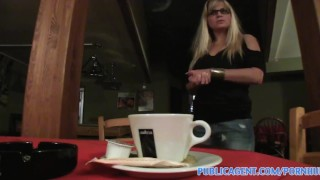 PublicAgent Blonde Cafe waitress takes my cash and fucks me in the toilet