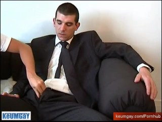 Guillaume a real french straight guy on suite trouser get wanked by a gay