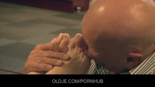 Old Man is licking toes and fucking Young holes
