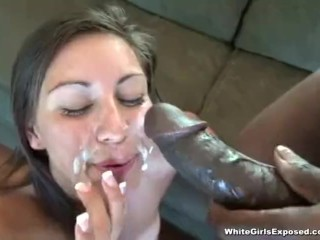 Ebony slut gets her face fucked