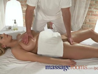 Massage Rooms Two girls get a big cock deep in their tight holes