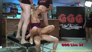 Hot blonde and brunette ladies sucking cocks while getting fucked