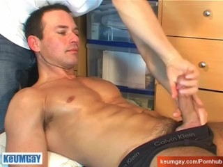 Marco, a very beautifull swimmer get wanked his huge cock by me!