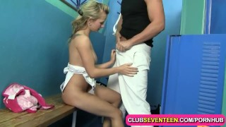 Petite blonde teenie fucked by her trainer