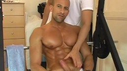 Cute sport guy get massaged his large chest and get wanked his huge dick
