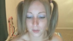 Pretty Blonde in Pigtails Toying her Pussy HD