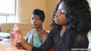 Two Naughty Black Girls Jerk A White Dick