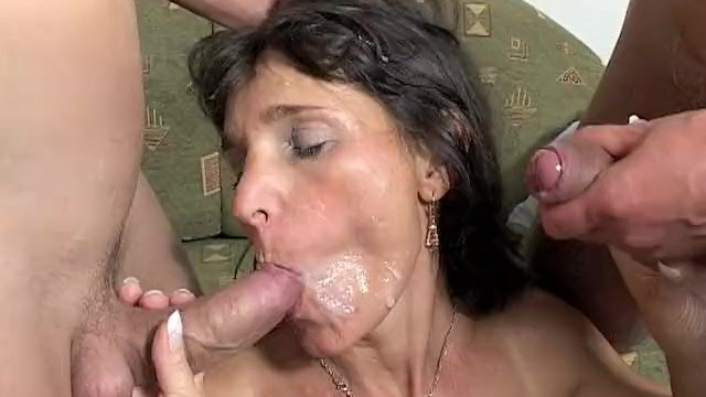Prolonged worked penetration greases Mama rewards two boys hard work with hot dp action