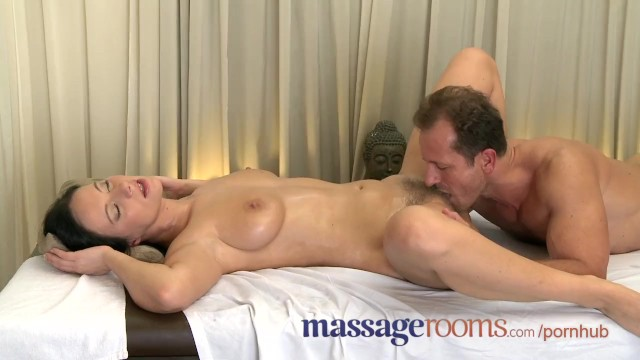 Dick sliding in the pussy Massage rooms wet shaved pussy licked before big cock slides deep inside
