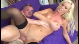 Big boobed babe fucking in thigh high stockings