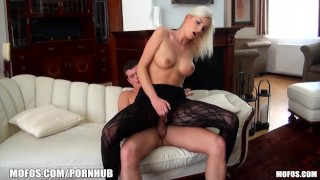 HOT blonde euro chick rides a thick cock in a lingerie bodysuit porno