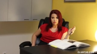 Preview 1 of Naughty Boss Jerks Off Her Employee