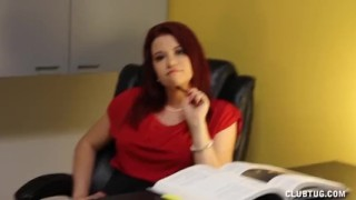 Preview 3 of Naughty Boss Jerks Off Her Employee