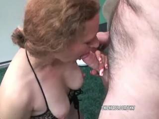 Petite MILF Anna in a bikini and sucking some cock