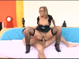 Mushroom Sex Video Fucking, Blonde with glasses in a cops uniform heels and fishnet stockings fuckin