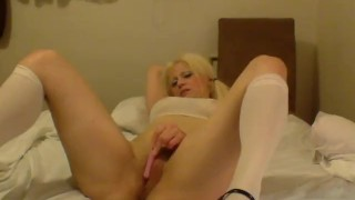 School girl Barbie Blaze cant wait to get herself off with her vibrator