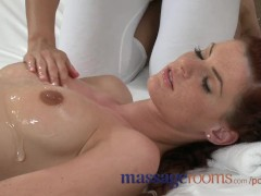 Massage Rooms Freckled beauty has deep orgasm in oily lesbian encounter