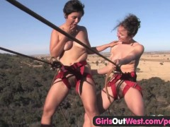 Girls Out West - Hairy amateur lesbians climbing the rock