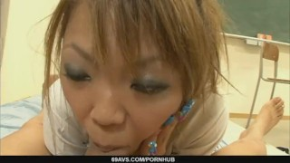 Sweet Japanese young girl is having fun