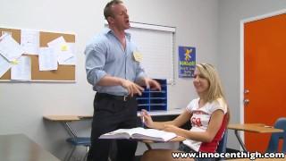 Preview 2 of InnocentHigh Teacher fucks smalltits blonde teen