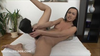 Dildos girl hd two monster in tiny stuffing brutal her pussy with masturbate tits