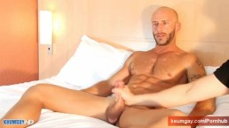 Aymeric, french sport guy get wanked his huge cock by a gay guy !