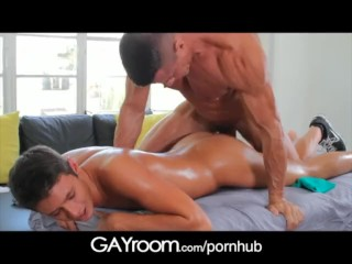 GayRoom Pretty boy gets oiled up and fucked by manly man