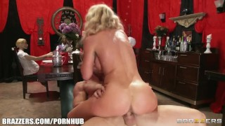 Sultry blonde with great tits and a perfect ass is fucked rough
