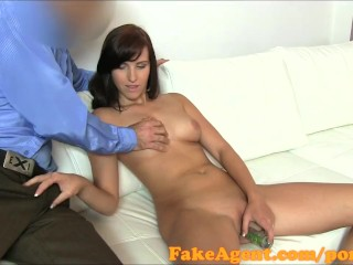 FakeAgent Cute brunette gets creampie in casting
