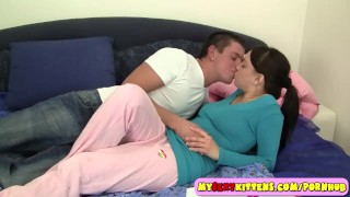 Busty ponytailed teen nailed in the bedroom In pink