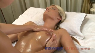 Preview 2 of Massage Rooms Big natural tits oiled up before girls get deep hard pumping